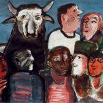 Dietrich Kaufmann, Die Erscheinung Jovis, 2005, Feder, Tusche, Anilin, Aquarell auf Karton, 70 x 100 cm