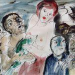 Dietrich Kaufmann, Merci, mon ami, 2005, Feder, Tusche, Aquarell auf Karton, 60 x 80 cm