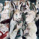 Dietrich Kaufmann, Mein Freund Harvey, 2005, Feder, Tusche, Aquarell auf Karton, 60 x 80 cm