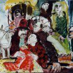 Dietrich Kaufmann, Der rote Mantel, 2004, Feder, Tusche, Acryl auf Karton, 60 x 80 cm
