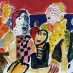 Dietrich Kaufmann, Wann geht's los?, 2005, Feder, Tusche, Acryl auf Karton, 60 x 80 cm