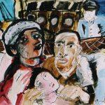 """Dietrich Kaufmann, Motorschiff """"Gerechtigkeit"""" ahoi!, 2005, Feder, Tusche, Acryl auf Karton, 70 x 100 cm"""