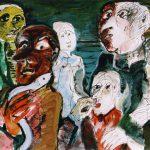Dietrich Kaufmann, Der Aal kommt durch, 2005, Feder, Tusche, Aquarell auf Karton, 70 x 100 cm
