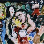 Dietrich Kaufmann, Clinch, 2005, Feder, Tusche, Acryl auf Karton, 70 x 100 cm