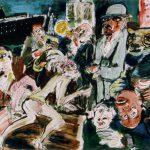 Dietrich Kaufmann, Chez Josephine, 2005, Feder, Tusche, Acryl auf Karton, 70 x 100 cm