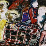 Dietrich Kaufmann, Die Tierquäler von Sezuan, 2006, Feder, Tusche, Acryl auf Karton, 70 x 100 cm
